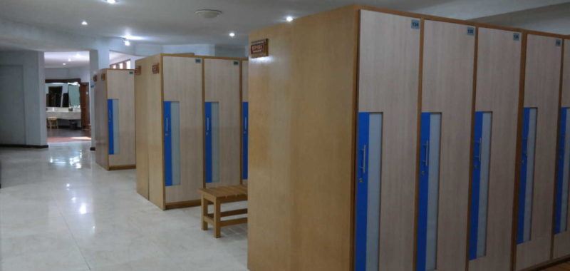 The men's locker room is huge, featuring hot showers and hot spa bath.